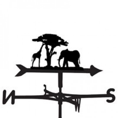 African Giraffe and Elephant Weathervane