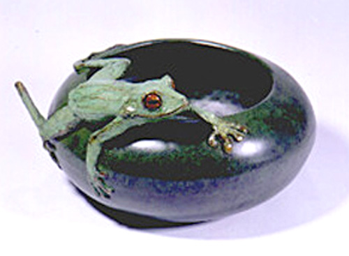 """""""Frog Bowl"""" Bronze (Cire perdue) 12 inch diameter, Edition of 21, Signed & Numbered - The Frog Bowl is meant as a piece that can be sculpture or decorative art. Throughout the world, frogs provide the chorus of the hidden world. This is a southern tree frog, (shown much larger than in life), which clings to everything and can hop in grand leaps."""