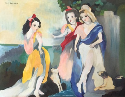 """Three Women, after Marie Laurencin"" Watercolour, 20 x 24 inches, 26 x 31 inches, Signed upper left"