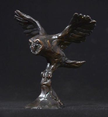 """Barn Owl"" Bronze, Limited Edition: 45, 15 x 15 x 12 cm"