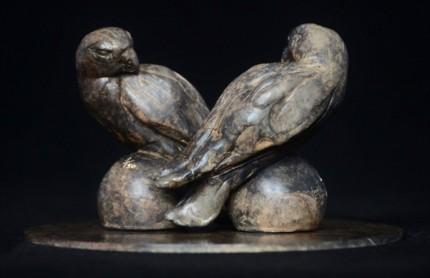 """Hawk Duo"" Bronze, Limited Edition: 15, 15 x 15 x 9 cm"