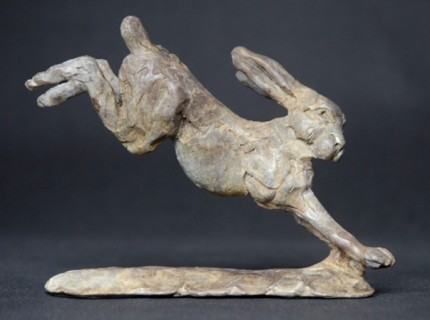 """""""Leaping Hare"""" Bronze, Limited Edition: 95, 130 mm Wide"""
