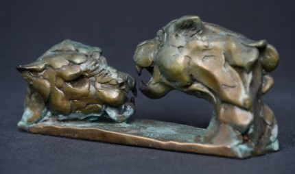 """""""Leopard Duel"""" Bronze, Limited Edition: 95, 140 mm Wide"""