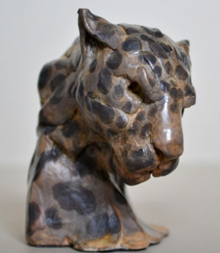 """Leopard Head"" Bronze, Limited Edition: 12, 9 x 9 x 7 cm"