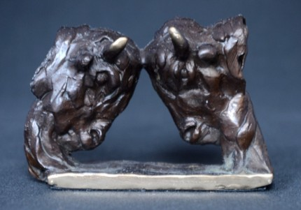"""""""Rutting Bison"""" Bronze, Limited Edition: 150, 90 mm Wide"""