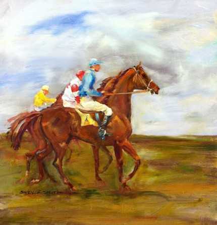 """""""Going to the Gate"""" Oil on paper, 12 x 11.75 inches, Signed lower left"""
