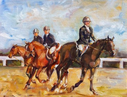 """""""Warm Up in the Ring"""" Oil on canvas, 8 x 10 inches, Signed lower left"""