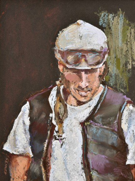 """""""Exercise Rider Waiting"""" Pastel on Tinted Paper, 9 x 12 inches, Signed lower left"""