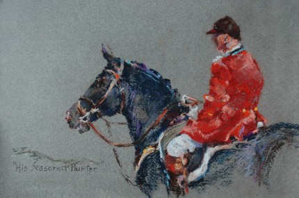 """""""His Seasoned Hunter"""" Pastel on Tinted Paper, 8 x 10 inches, Inscribed, Signed lower right"""