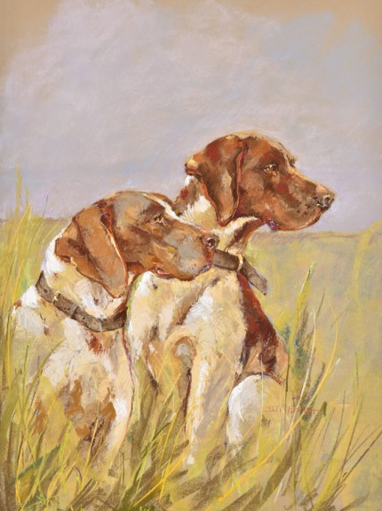 """""""Two German Shorthair Pointers"""" Pastel on Toned Board, 24 x 18.75 Inches, Matted & Framed, Signed lower right"""