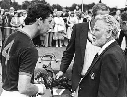 Tom Holland presenting a Polo Pony bronze to Prince Charles. | He also presented Prince Charles with a polo pony sculpture when he married Diana, and the late President Regan had one as well.