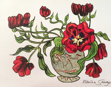 """""""Prancing Tulips"""" Limited Edition on canvas, Artist's Proof Edition of 45, 30 x 40 inches, Signed & Dated 2003"""