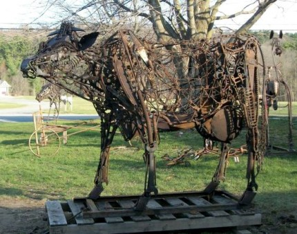 """""""Cow"""" Welded Metal, Signed, SOLD"""