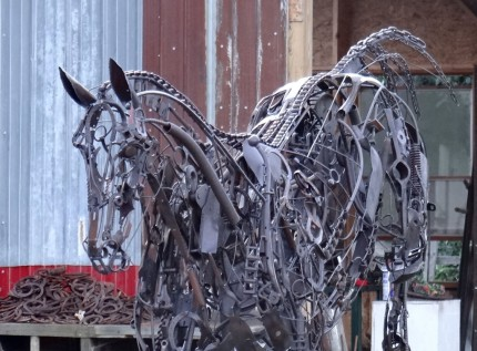 """""""Free Jumping"""" Life Size, Found objects & Welded steel, H 8' x L 12' x W 4', Signed"""