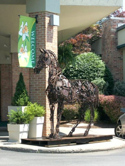 """""""Horse Holiday Inn"""" Welded Metal, Signed, SOLD"""