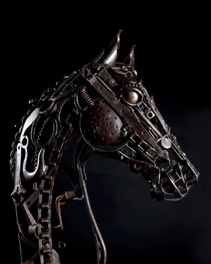 """""""Horsehead"""" Welded Metal, Signed, SOLD"""