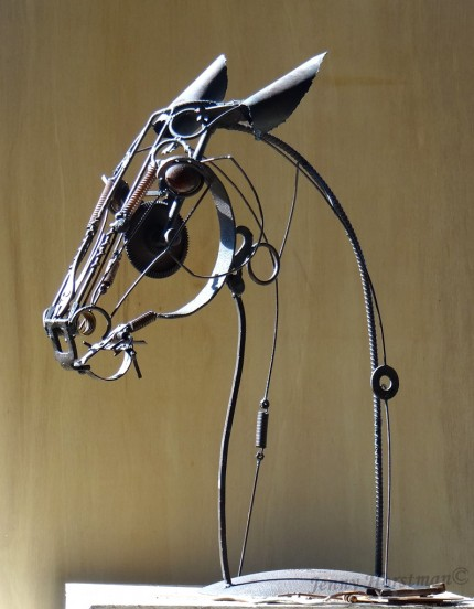 """""""Noble Maiden"""" Welded Metal, 38 x 30 x 15 inches, Signed"""