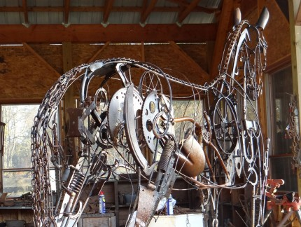 """""""Yearling"""" Life Size, Found objects & Welded steel, H 7' 11"""" x L 10' x W 2'"""