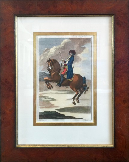 """Antique Dressage I"" Hand Coloured Copper Engravings, 11 x 7 inches, 20 x 16 inches, Matted & Framed, Publication: Description du Manege Moderne (London, 1727)"