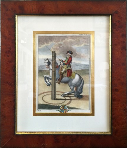 """Antique Dressage II"" Hand Coloured Copper Engravings, 11 x 7 inches, 20 x 16 inches, Matted & Framed, Publication: Description du Manege Moderne (London, 1727)"