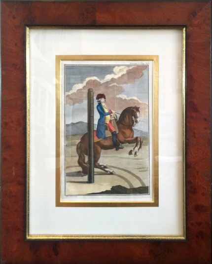 """Antique Dressage III"" Hand Coloured Copper Engravings, 11 x 7 inches, 20 x 16 inches, Matted & Framed, Publication: Description du Manege Moderne (London, 1727)"