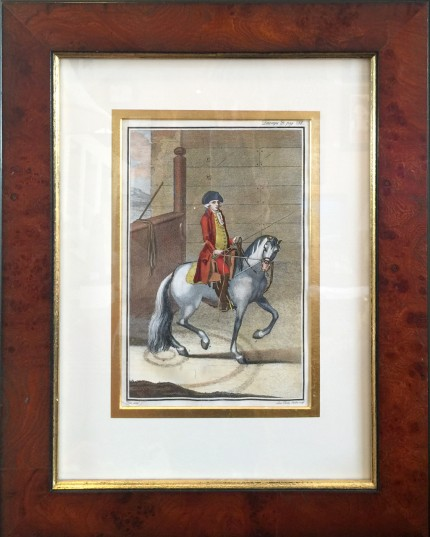 """Antique Dressage IV"" Hand Coloured Copper Engravings, 11 x 7 inches, 20 x 16 inches, Matted & Framed, Publication: Description du Manege Moderne (London, 1727)"