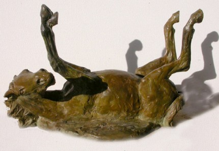 "Celou Bonnet, French Contemporary ""Rolling Horse"" Bronze"