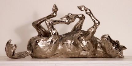"""Kate Denton, British Contemporary """"Rolling Horse II"""" Bronze, 10 x 23 x 10 inches, Edition of 12, 2 versions available: 2/12 of the bronze and 3/12 of the nickel plated bronze"""