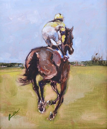 """Going to Post – Wincanton"" Oil on canvas"