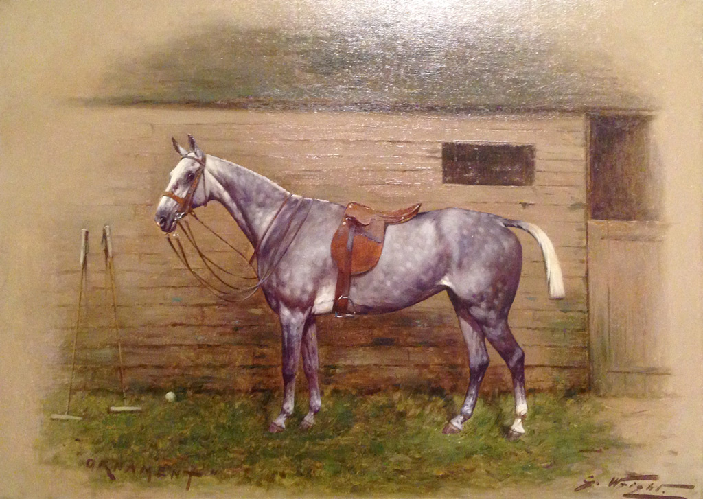 """""""Polo - Ornament"""" Oil on canvas, 16 x 21.5 inches, 22 x 27 inches, Signed lower right, Inscribed lower left, Framed"""
