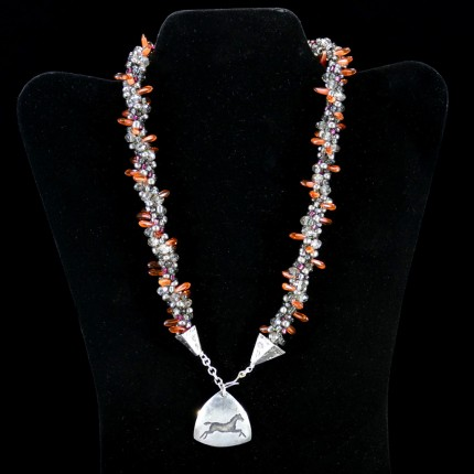"""Triple Luck Beaded Necklace"" Overall length: 19"", Pendant: 1.25"" x 1.25"", Price: $550, Chisholm Ref. #: SBW-N11 