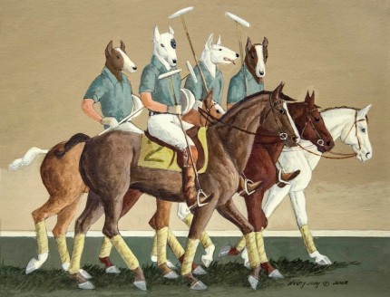 """""""The Polo Team"""" Oil on paper, 9 x 12 inches, Mat: 14.5 x 17 inches, Signed & Dated 2008"""