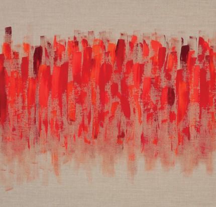 """Rhythm of Life II"" Acrylic on raw linen, 30 x 30 x 1 inches"