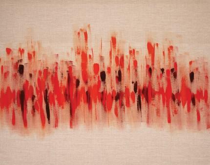"""Rhythm of Life"" Acrylic on raw linen canvas, 55 x 43.5 inches"