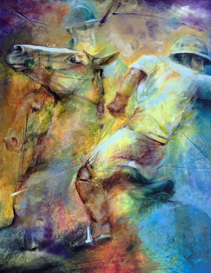 """""""All the Way"""" Polo Ponies Series, Acrylic on canvas, 40 x 30 inches, Signed"""