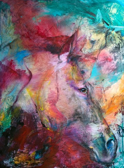 """""""Chaos"""" Mottled Horses Series, Acrylic on canvas, 40 x 30 inches, Signed"""