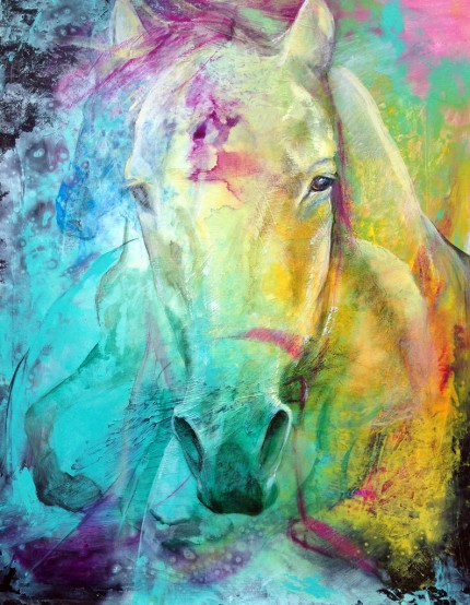 """""""Morning Splash"""" Mottled Horses Series, Acrylic & Oil pastels on canvas, 30 x 24 inches, Signed"""
