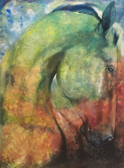 """""""Tuscan Landscape Jewel"""" Mottled Horses Series, Acrylic on canvas, 40 x 30 inches, Signed"""