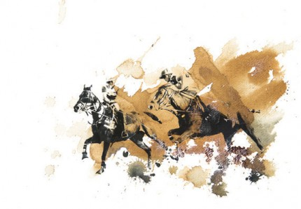 """British Polo Day - Mixed Media 1"" Jodhpur, India 2013, Archival pigment print with original coffee and ink painting on handmade Indian rag, 16.5 x 11.7 inches"
