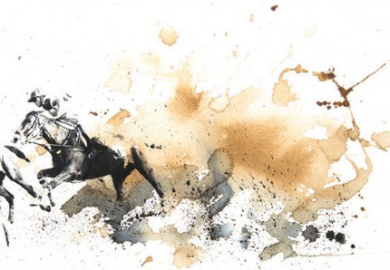 """British Polo Day - Mixed Media 2"" Jodhpur, India 2013, Archival pigment print with original coffee and ink painting on handmade Indian rag, 16.5 x 11.7 inches"