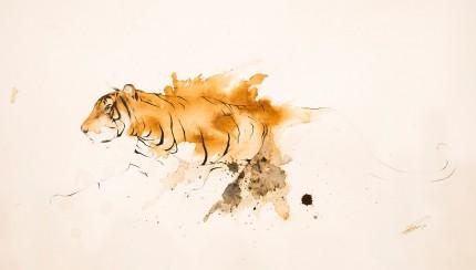 """Tiger VII"" Coffee & Ink, Signed"