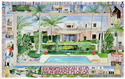 """911 N. Ocean Blvd. Palm Beach, FL"" Mixed media on Arches paper, 26 x 40 inches, Signed lower right"