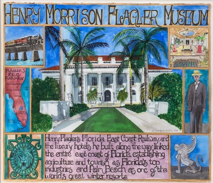 """Henry Morrison Flagler Museum"" 1997, Mixed media on Arches paper, 24 x 30 inches, 33 x41 inches, Signed & Dated lower right"