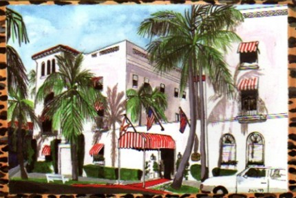 """The Chesterfield Hotel"" Mixed media on Arches paper, 18 x 24 inches, Signed lower right"