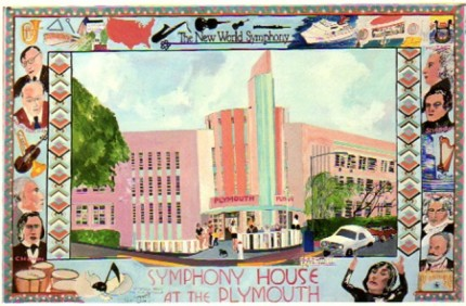 """The New World Symphony, Miami, FL"" Mixed media on Arches paper, 26 x 40 inches, Signed lower left"