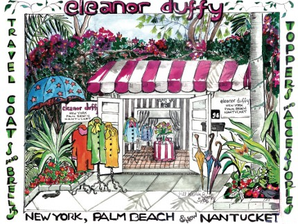 """The Shop of Eleanor Duffy, Palm Beach, FL"" Mixed media on Arches paper, 18 x 24 inches, Signed lower right"