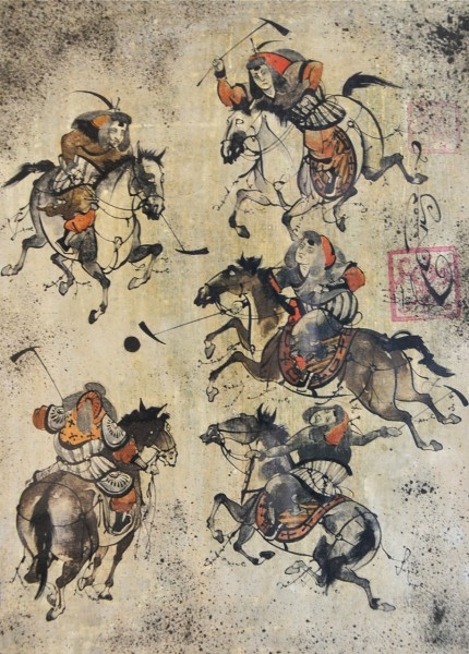 """Ancient Polo II"" Watercolour on linen, 20 x 16 inches, Signed"