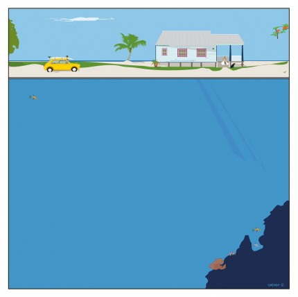 """""""Beach Cottage"""" Digital graphic art and acrylic inks, Limited edition archival pigment print, Edition of 99: 24 x 24 inches, Signed & Numbered"""