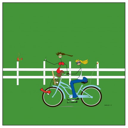 """""""Bikeafarians"""" Digital graphic art and acrylic inks, Limited edition archival pigment print, Edition of 99: 24 x 24 inches, Signed and Numbered"""