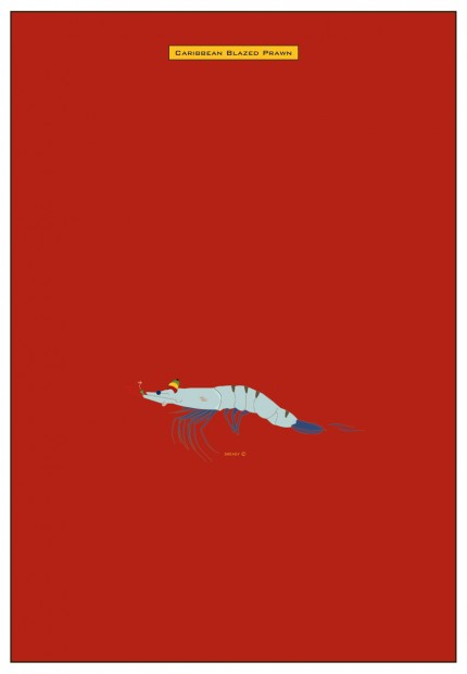"""Blazed Prawn"" Digital graphic art and acrylic inks, Limited edition archival pigment print, Edition of 99: 40 x 27 inches, Signed and Numbered"